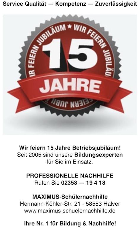 Jubiläum - 15 Jahre professionelle Nachhilfe in Halver!